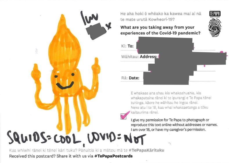This postcard reads: 'SQUIDS=COOL, COVID=NOT
