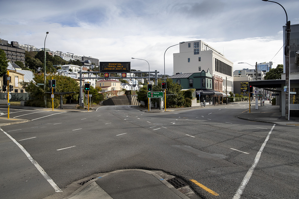 Empty streets at the entrance to the Terrace Tunnel in Wellington