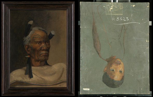 On the left, a painting of a Māori chief, on the right, the back of the painting showing an unfinished portrait of a young boy