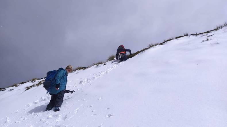 Antony Kusabs and David Lyttle tramping in the snow near End Peak. Jan 2021, Photo by Heidi Meudt @ Te Papa.