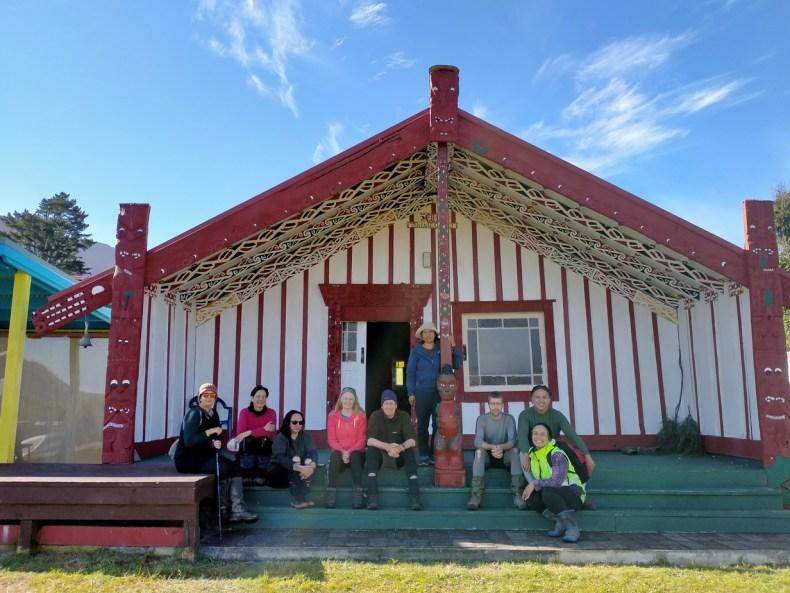The team on the steps of the Maungapohatu marae: Kerry, Heidi, Karen, Sarah, Willie, Atamira, Antony, Paora and Stephanie, Dec 2020.