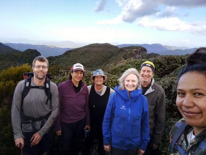 Our tireless team on Maungapohatu: Ant, Heidi, Kerry, Sarah, Willie and Atamira, Dec 2020. Photo by Atamira Nuku.