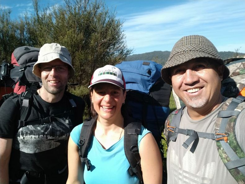 Ant, Heidi. and Paora on the trek to our campsite near the base of the maunga at Maungapohatu, Dec 2020. Photo by Paora Tibble. Te Papa.