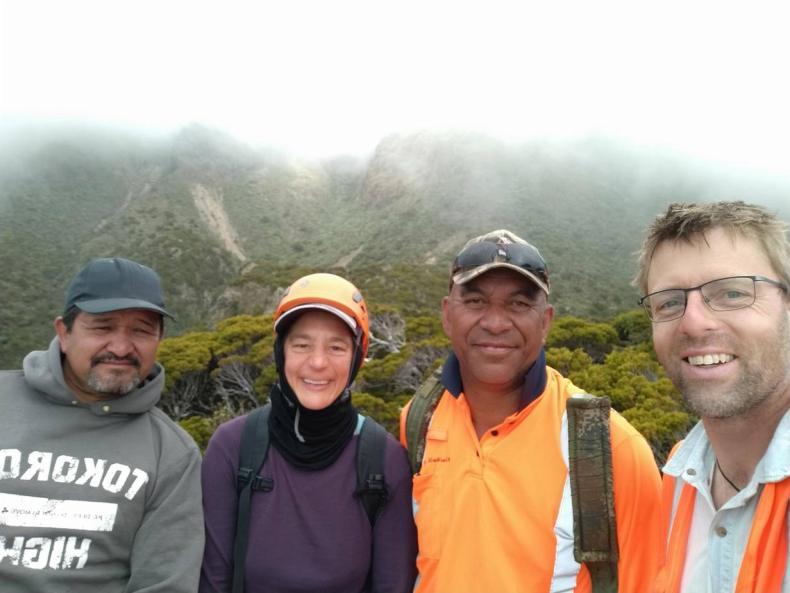 Team selfie on Whanokao: Graeme Atkins, Heidi Meudt, Wiremu Wharepapa, Antony Kusabs, Dec 2020. Photo by Antony Kusabs @ Te Papa.