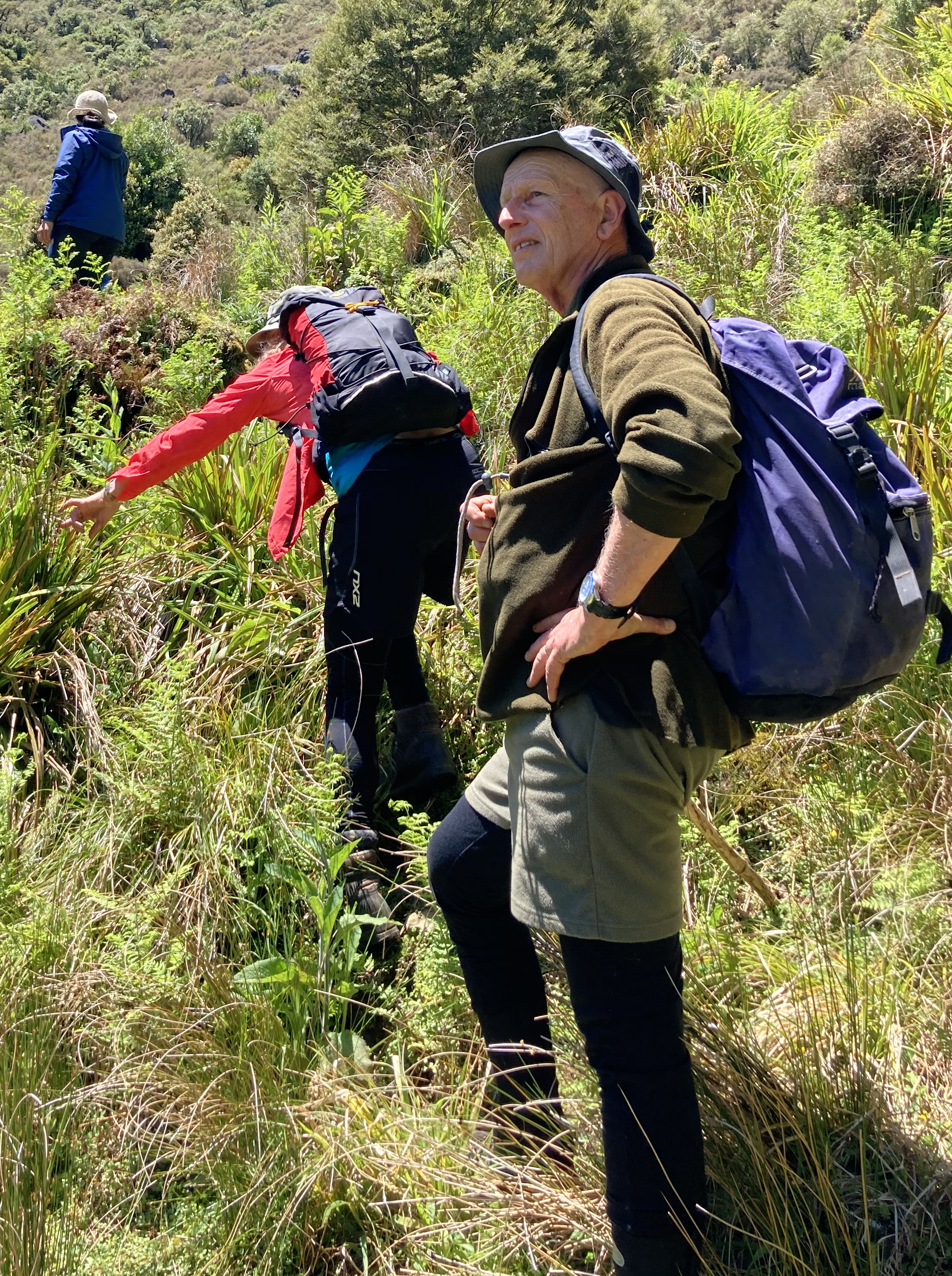 Three people with hiking gear and carrying packs climbing up the side of a grassy hill