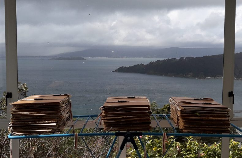 Three stacks of tied-up flat cardboard on a laundry rack in front of a window over looking the harbour.
