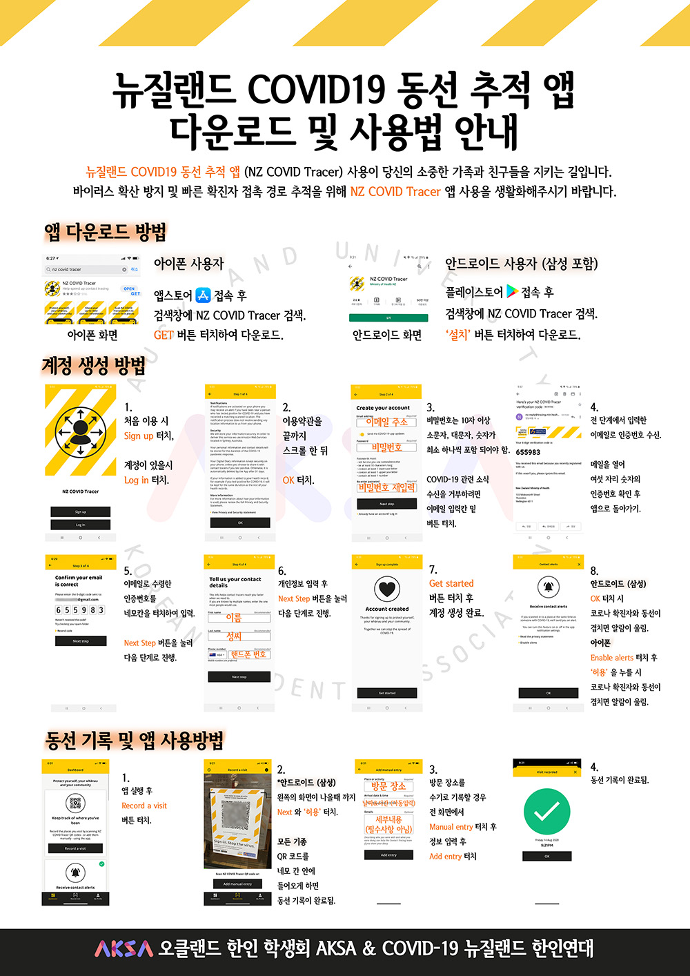 A poster containing many screenshots showing how to download an app