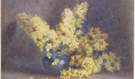 Watercolour painting of a blue vase with thick branches of yellow blossoming flowers. Prickly thorns can be seen over the lip of tha vase.