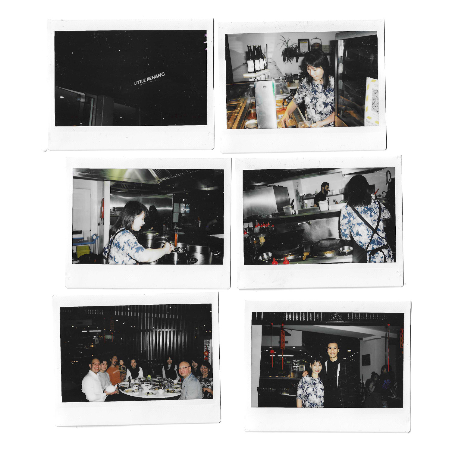 A selection of Polaroid photos showing a woman cooking in her restaurant kitchen and eating food with her family