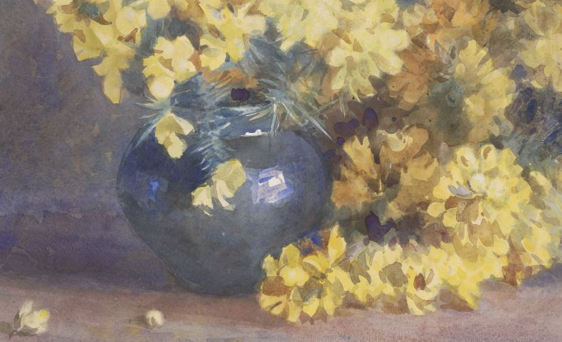 A watercolour painting of yellow flowers in a blue vase with a brown background.